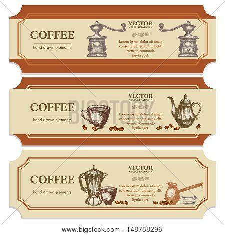 Coffee label design templates ink hand drawn retro vintage vector