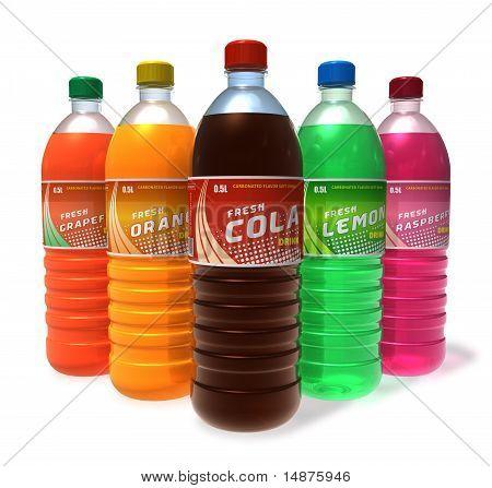 Set of refreshing drinks in plastic bottles