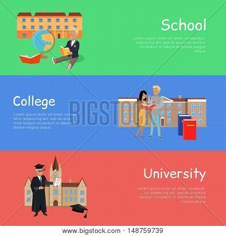 Set of banners school college university. Education order school college university. Right way to become a good professional. Scheme of education.