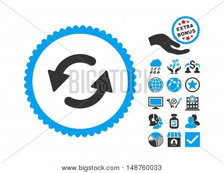 Refresh Ccw pictograph with bonus symbols. Glyph illustration style is flat iconic bicolor symbols, blue and gray colors, white background. poster