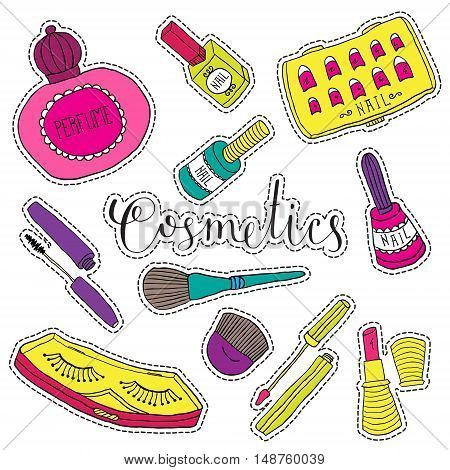 Hand drawn fashion cosmetics. Beauty and makeup set of stickers, patches, pins in cartoon comic style.