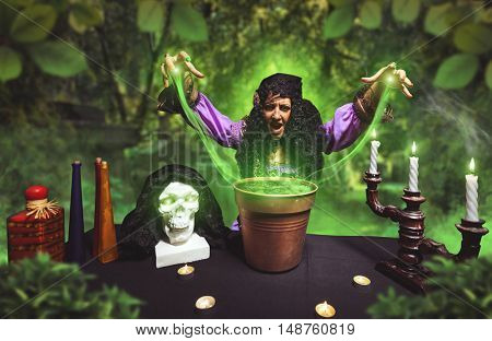 Crazy sorceress practising witchcraft