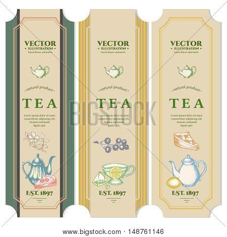 Labels Black tea Fruit tea Green Tea design package ink hand drawn vector