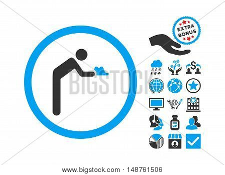 Servant pictograph with bonus icon set. Glyph illustration style is flat iconic bicolor symbols, blue and gray colors, white background.