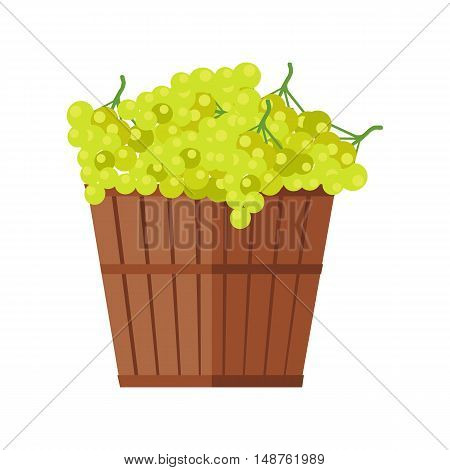Wooden basket with grapes. White Wine. Fruit for preparation