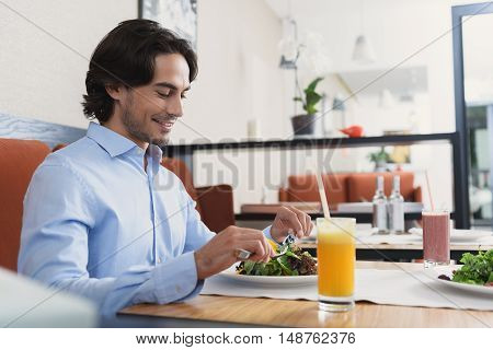 Working hard and eating well. Profile shot of handsome man sitting at table in cafe and preparing to eat salad, smiling