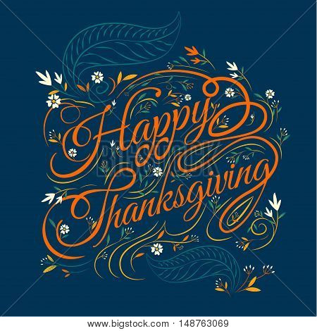 Happy Thanksgiving autumn leaves Background vector Illustration