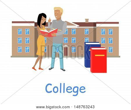 Two students stand with book on the background of college building. Two students read book. Brown college building with brown roof. Student communication. Education concept. College education.