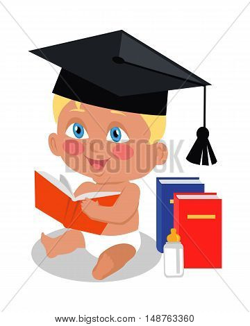 Baby sitting on floor with big book in square academic cap. Toddler reads book. Education of a child. Parenthood concept. Nursery, education at home. Part of series of lifelong learning. Vector