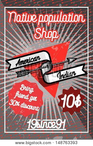 Color vintage american indian poster for your design. Vector illustration, EPS 10