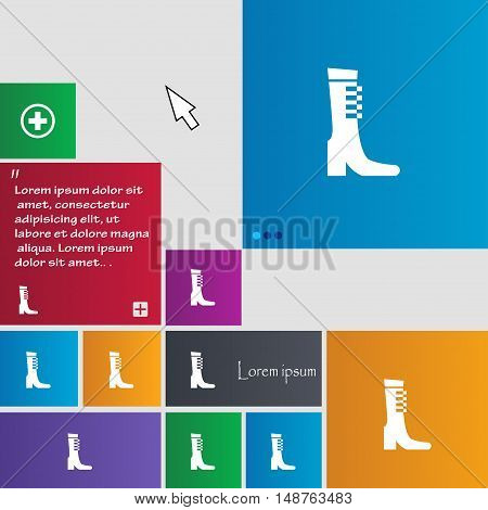Female Fall And Winter Shoe, Boot Icon Sign. Buttons. Modern Interface Website Buttons With Cursor P