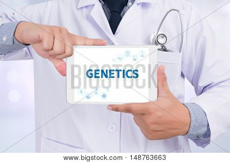 GENETICS Doctor holding digital tablet doctor work hard