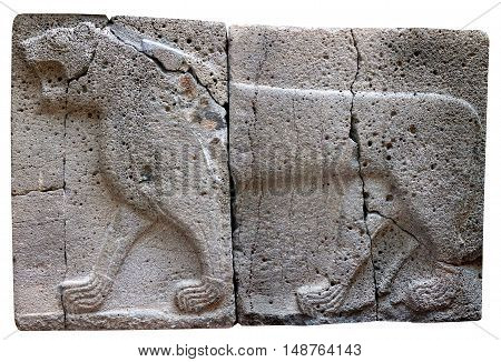 Ancient stone bas-relief with Lion (Aslan) of late Hittite period