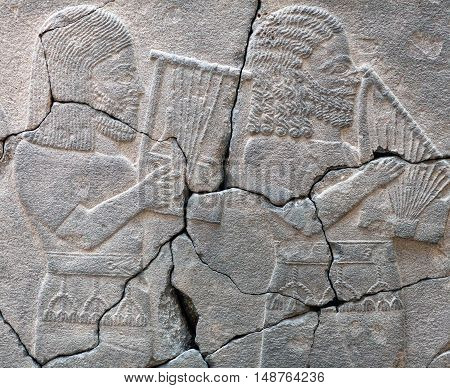 Ancient stone bas-relief with musicians late Hittite period (Aramaean 8th Cent. B.C.).