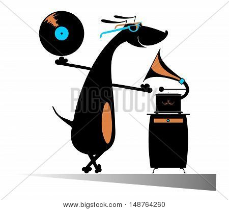 Dog music lover. Funny dachshund listening music on vintage record player