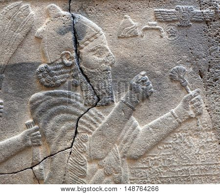 Ancient stone bas-relief late Hittite period (Aramaean 8th Cent. B.C.)  close up