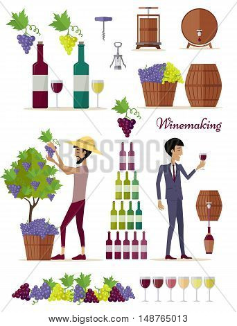 Winemaking icon set. Collection of glasses, types of grapes, bottles, tuns, barrels, openers. Check elite vintage strong wine. Part of series of viniculture production and preparation items. Vector