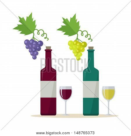 Bottles of white and red wine and wineglasses with bunches of wine grapes. Bottles with label and glasses of wine. Wineglasses full of wine. Wine icon. Vineyard grape icon. Grapes icon.