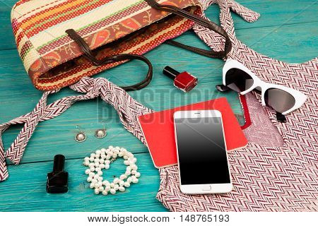 Voyage Concept - Set Of Woman Stuff With Dress, Smart Phone, Bag, Notepad, Accessory And Nail Polish