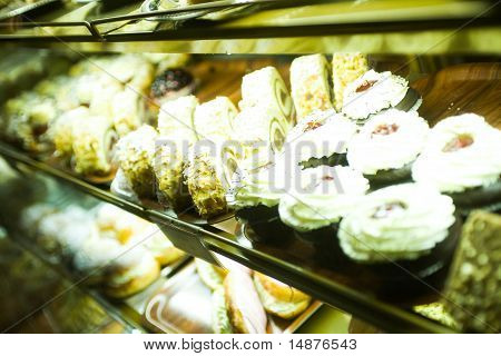 Cakes in a cake shop
