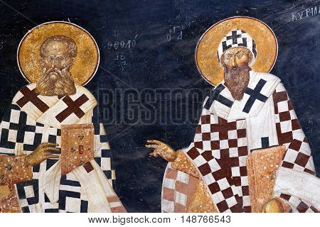ISTANBUL, TURKEY - OCTOBER 31, 2015: Bishop figures on the apse wall - Saint Gregory the Theologian and Saint Cyril of Alexandria in the Kariye Church in Istanbul, Turkey