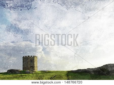 Historic nineteenth century sandstone Government Customs tower at La Perouse, Sydney, Australia. Built to stop smuggling.  Distressed, textured image with copy space for text.