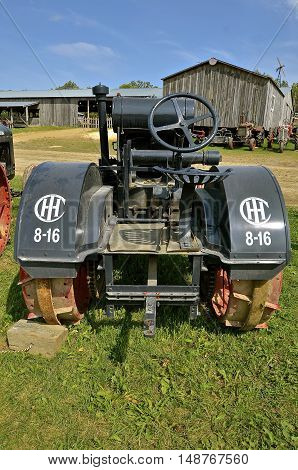 ROLLAG, MINNESOTA, Sept 1. 2016: An International 8-16 antique tractor by IHC  is displayed at the West Central Steam Threshers Reunion in Rollag, MN attended by 1000's held annually on Labor Day weekend.