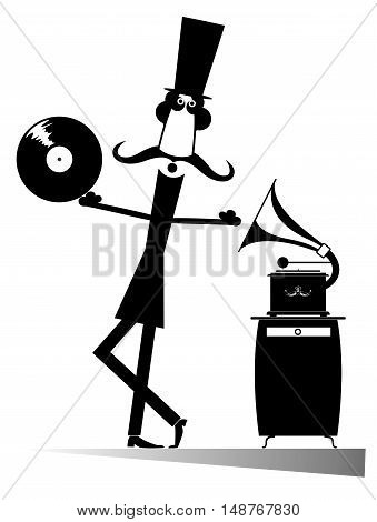 Retro music lover. Funny music lover is listening to music by vintage record player