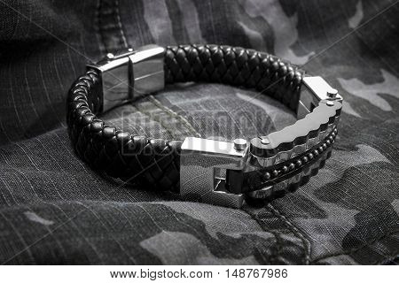Men's Bracelet - Stainless Steel And Leather