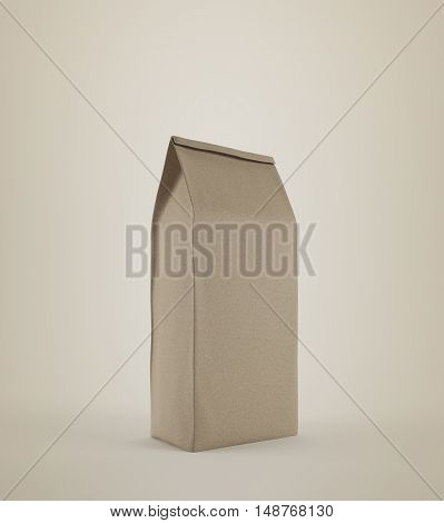 Beige lunch paper bag standing against beige background. Concept of healthy homemade food and eating it at your workplace. 3d rendering mock up.