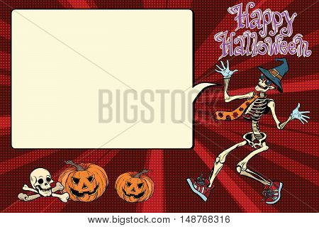 Happy Halloween funny skeleton invites you to a party, pop art retro vector illustration. Jolly Roger and the evil pumpkin