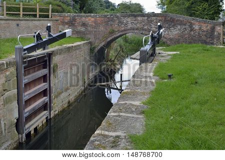 Restored Ham Mill Lock Gates & Bridge Thames & Severn Canal Thrupp Stroud Gloucestershire