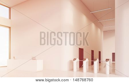 Reception desk with two laptops standing near large window. Turnstiles round the corner. Concept of admission. 3d rendering mock up toned image