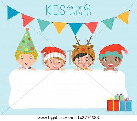 children and greeting Christmas and New Year card, kids peeping behind placard, kids in Christmas costume characters celebrate, Cute little christmas Children's collection, happy new year, Vector