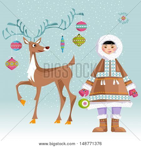 Eskimo Child and a Christmas deer. Vector illustration.