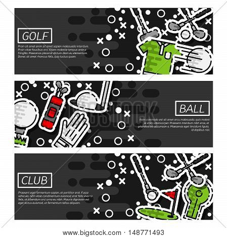 Set of Horizontal Banners about golf with training elements isolated vector illustration