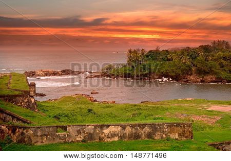 Sea lagoon a scenic peninsula and the sunset view from the fortress of Galle Sri Lanka