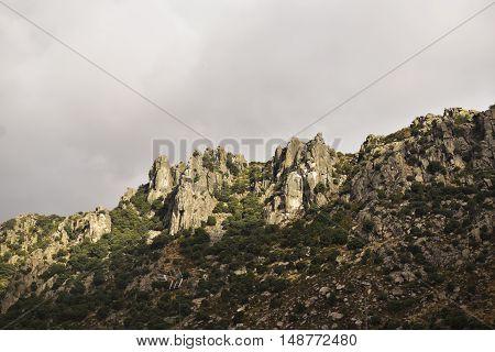 Sierra de la Cabrera, Rocky spur of the long rope. Madrid's community. Spain.