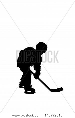 Silhouette of hockey player isolated on white background.