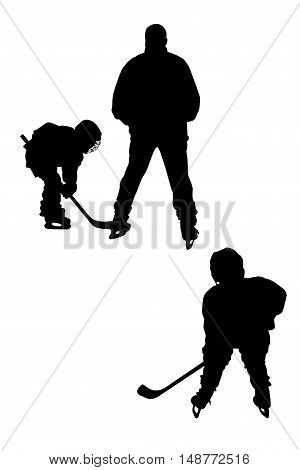 Silhouettes of two hockey players isolated on white background.