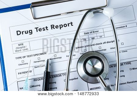 Drug Test Report, Medical Stethoscope With Clipboard
