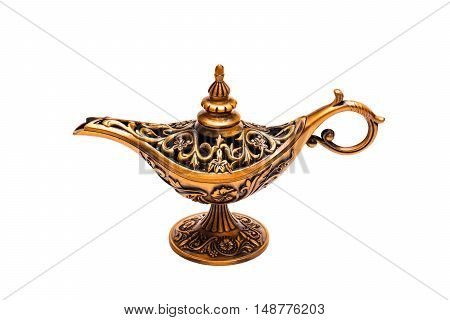 Vintage lamp of Aladdin.Old bronze lamp of Aladdin