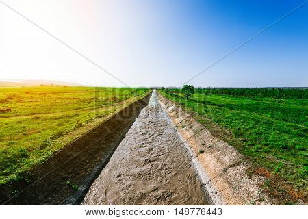 Water irrigation canal.Irrigation canal in the fields
