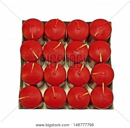 Box of new red Candles on a white background