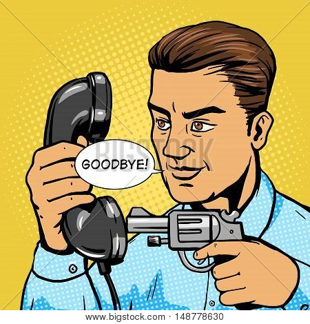 Man aim gun to phone handset pop art vector illustration. Human character illustration. Comic book style imitation. Vintage retro style. Conceptual illustration