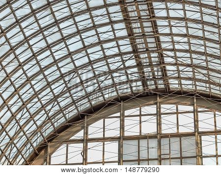 Modern roof ceiling design made of metal and glass