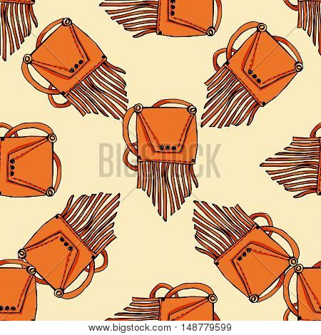 Seamless pattern. Fashion set. Various bags. illustration in hand drawing style.