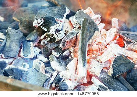 Burning Charcoal In Bbq Close-up