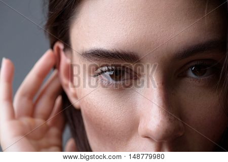 beauty and skincare concept, close up of the face of a woman