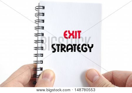 Exit strategy text concept isolated over white background